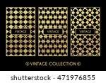 golden vintage pattern on black ...