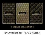 golden vintage pattern on black ... | Shutterstock .eps vector #471976864