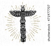 hand drawn tribal icon with a... | Shutterstock .eps vector #471977707