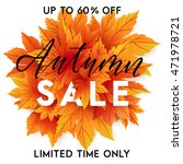 autumn sale flyer template with ... | Shutterstock .eps vector #471978721