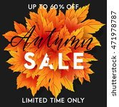 autumn sale flyer template with ... | Shutterstock .eps vector #471978787