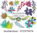 vector set with succulents set... | Shutterstock .eps vector #471979474