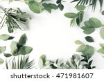 Stock photo frame with flowers branches leaves and petals isolated on white background flat lay overhead 471981607