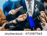 media interview with businessman | Shutterstock . vector #471987565