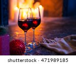 two red wine in glass against... | Shutterstock . vector #471989185