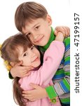 happy smiling kids hugging each ... | Shutterstock . vector #47199157