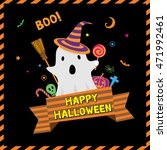 little cute ghost for happy... | Shutterstock .eps vector #471992461