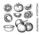 tomato vector drawing set.... | Shutterstock .eps vector #471997564