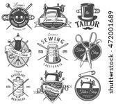 set of vintage monochrome... | Shutterstock . vector #472001689