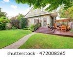 backyard area with walkout deck ... | Shutterstock . vector #472008265