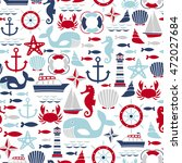 seamless pattern with sea icons | Shutterstock .eps vector #472027684