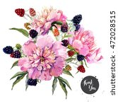 watercolor vector floral... | Shutterstock .eps vector #472028515