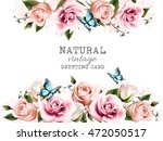 natural background with roses.... | Shutterstock .eps vector #472050517