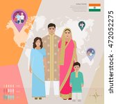 indian family in national dress ... | Shutterstock .eps vector #472052275