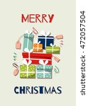 merry christmas card with... | Shutterstock .eps vector #472057504