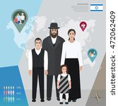 jewish family in national dress ... | Shutterstock .eps vector #472062409
