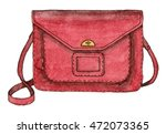watercolor fashion red bag.... | Shutterstock . vector #472073365