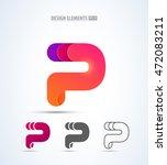 abstract vector letter p logo... | Shutterstock .eps vector #472083211