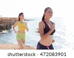 beautiful girls on the run at... | Shutterstock . vector #472083901