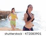beautiful girls on the run at... | Shutterstock . vector #472083901