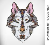 wolf head. ethnic patterned... | Shutterstock .eps vector #472087834