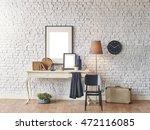 brick wall horizontal banner... | Shutterstock . vector #472116085