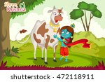 kanha with cow on krishna... | Shutterstock .eps vector #472118911