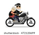 grandma and grandpa riding a... | Shutterstock .eps vector #472120699