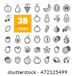 set of fruits and berries... | Shutterstock .eps vector #472125499