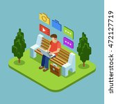 man sitting in the park and... | Shutterstock .eps vector #472127719
