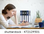 young stressed businesswoman... | Shutterstock . vector #472129501