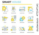 smart house concept icons  thin ... | Shutterstock .eps vector #472147141