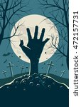 zombie hand breaking out from... | Shutterstock .eps vector #472157731