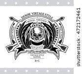 skull front view in center of... | Shutterstock .eps vector #472172461