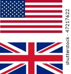 USA and UK flags isolated illustration - stock photo
