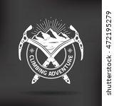 climbing mountain vector label... | Shutterstock .eps vector #472195279