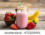 strawberry and banana smoothie... | Shutterstock . vector #472205491