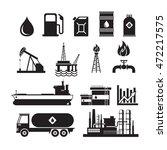 Oil Industry Object Silhouette...