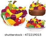 assorted fruit bowls.   Shutterstock .eps vector #472219015