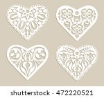 set stencil lacy hearts with... | Shutterstock .eps vector #472220521