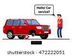 worried driver calling roadside ...   Shutterstock .eps vector #472222051