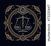 vintage thin line libra zodiac... | Shutterstock .eps vector #472232647