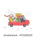 cute delivery illustration with ... | Shutterstock .eps vector #472240225