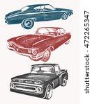 watercolor retro cars set.... | Shutterstock .eps vector #472265347