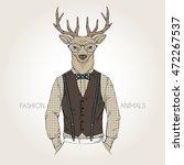 deer man dressed up in retro... | Shutterstock .eps vector #472267537