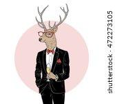 deer man dressed up in tuxedo... | Shutterstock .eps vector #472273105