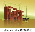 tower cranes creating 3D word - stock photo