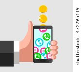 human hand is keeping mobile... | Shutterstock .eps vector #472295119