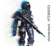 futuristic marine soldier on a... | Shutterstock . vector #472300321