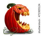 halloween pumpkin and scary... | Shutterstock . vector #472305124